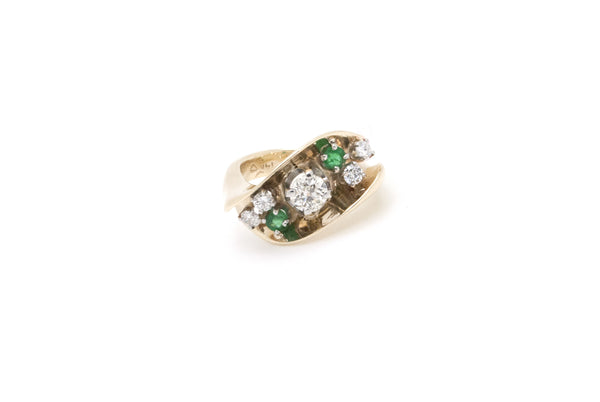 Vintage 14k Yellow Gold Diamond & Emerald Cocktail Ring - .90 ct. tw - Size 3.5