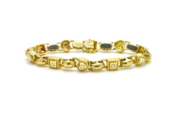 14k Yellow Gold Diamond Link Heart Box Tennis Bracelet - 1.00 ct. tw - 7.5 in.
