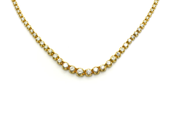 14k Yellow Gold Diamond Graduated Riviera Necklace - 6.00 ct. total - 14.5 in.