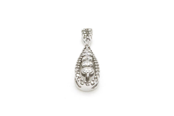 10k White Gold Round Diamond Pave Drop Pendant - 27 x 7 mm - .50 ct. total