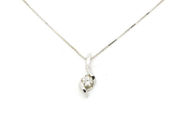 14k White Gold Round Diamond Bypass Style Solitaire Necklace - .25 ct. - 18 in.