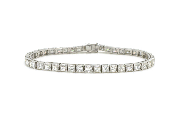 18k White Gold Princess Diamond Fine Tennis Bracelet - 9.25 ct. total - 7 in.