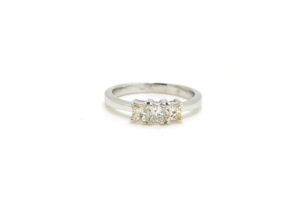 14k White Gold Three Princess Diamond Engagement Ring - 1.00 ct. tw - Size 8.25
