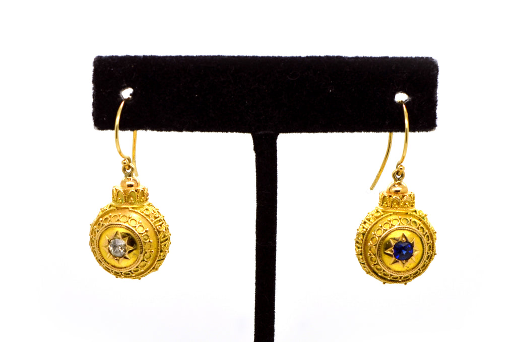 Vintage Victorian 18k Yellow Gold Sapphire Diamond Ball Earrings - .45 ct. total