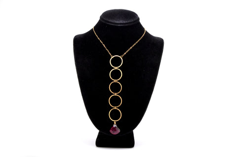 Laura Goulas 14k Yellow Gold Loop Necklace with Watermelon Tourmaline - 21 in.