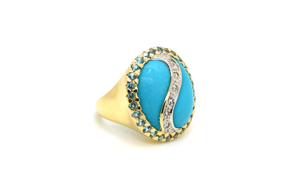 14k Yellow Gold Diamond Turquoise & Aquamarine YingYang Cocktail Ring - Size 5.5