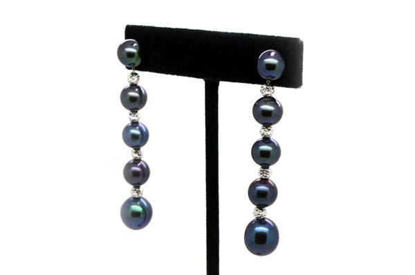 14k White Gold Beads & Enhanced Cultured Tahitian Pearl Earrings - 60 mm drop