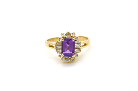 14k Yellow Gold Diamond & Purple Amethyst Cocktail Ring - 1.30 ct tw - Size 6.75
