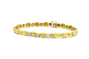 14k Yellow Gold Diamond Fine Tennis Fluted Link Bracelet - .50 ct. tw - 7.5 in.