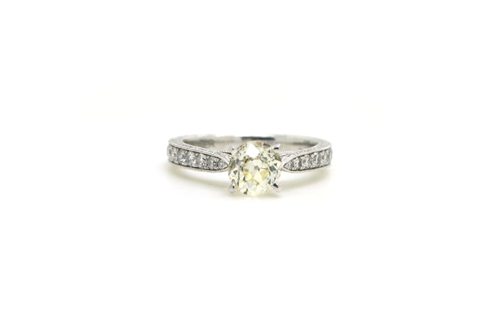 Vintage 14k White Gold Diamond Engagement Ring - 1.72 ct. total - Size 6.25
