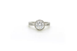 18k White Gold Round Diamond Halo Engagement Ring - 1.31 ct. total - Size 6.5