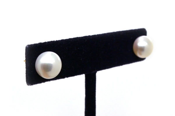 14k Yellow Gold White Round Button Pearl Stud Earrings - 9.3 mm - Push Back