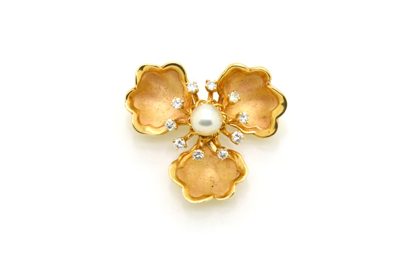 Vintage 14k Yellow Gold Flower Pearl & Diamond Brooch Pin - .50 ct. total