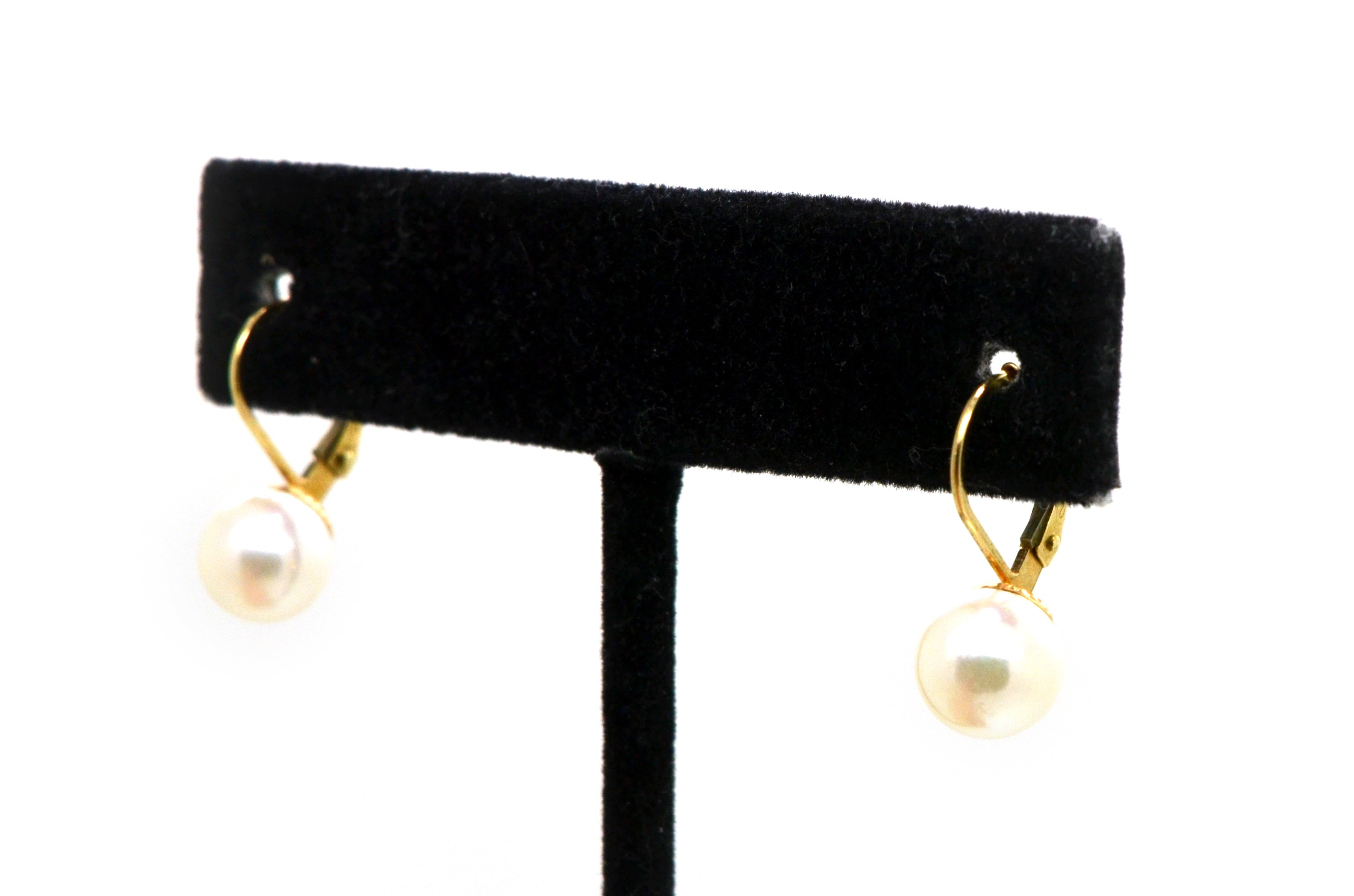 14k Yellow Gold Round White 7.5 mm Cultured Pearl Dangle Earrings