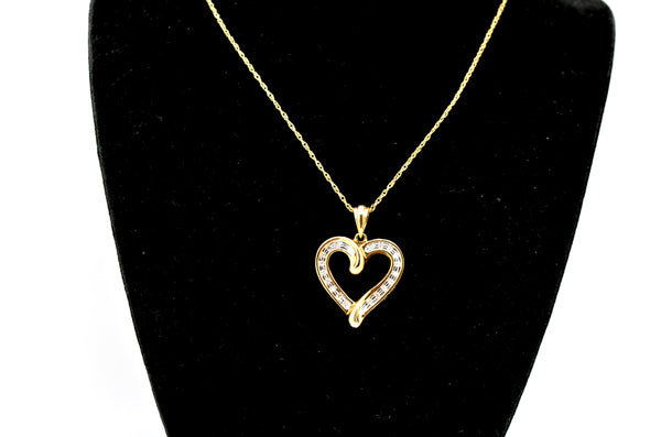 10k Yellow Gold Diamond Heart LOVE YOU Pendant Necklace - .15 ct. total - 18 in.