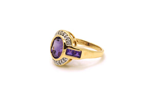 14k Yellow Gold Diamond & Purple Amethyst Cocktail Ring - 2.90 ct. tw - Size 6.5