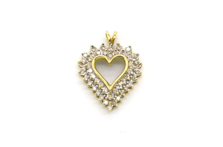 10k White & Yellow Gold Heart Shaped Pendant with Diamonds - .60 ct. total
