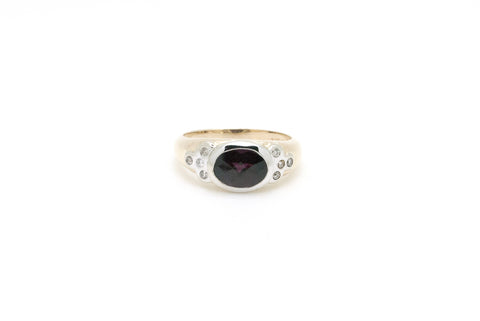 14k Yellow & White Gold Diamond & Rhodolite Garnet Cocktail Ring - Size 5.75