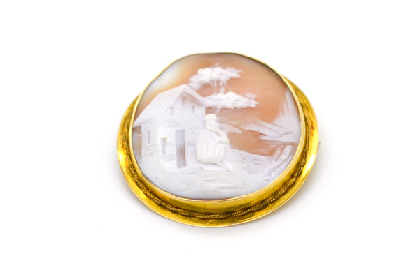 Vintage 14k Yellow Gold Girl and Landscape Cameo Brooch in Frame - 46 by 40 mm