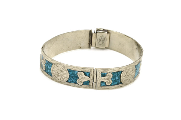 Nickel Silver Alloy Mexico Alpaca Tribal Turquoise Inlay Bracelet - 6.75 in.