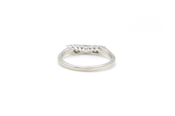 14k White Gold Contoured Round Diamond Band Ring - .33 ct. total - Size 9.25