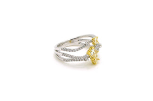 18k White & Yellow Gold Diamond Cocktail Ring - 1.20 ct. total - Size 6.5