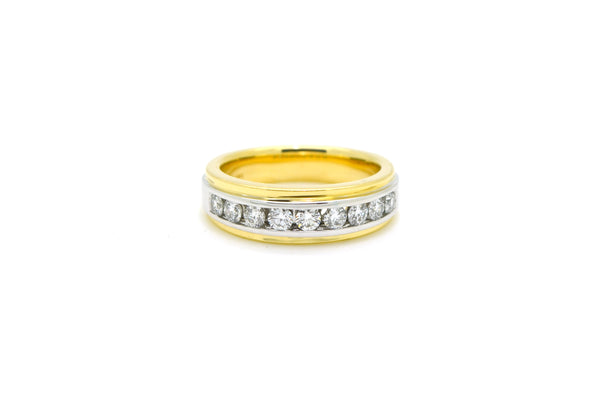 14k White & Yellow Gold Diamond Wedding Band Ring - 1.00 ct. total - Size 10.5