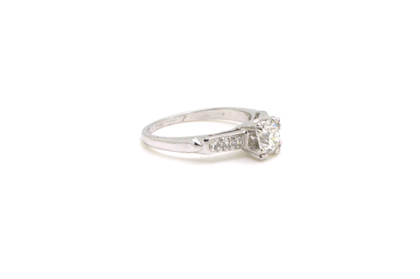 Vintage Platinum Round Diamond Engagement Ring - .72 ct. total - Size 6.75