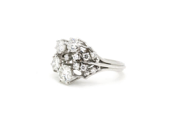 Vintage Platinum Round Diamond Cluster Cocktail Ring - 1.50 ct. total - Size 6.5