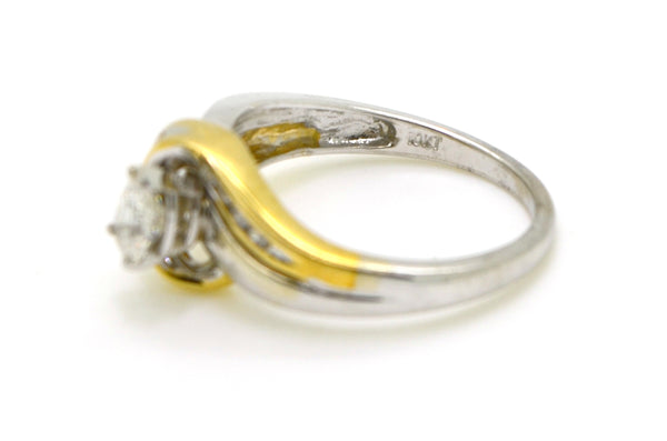 10k White & Yellow Gold Pear Diamond Promise Ring - .40 ct. total - Size 6.5