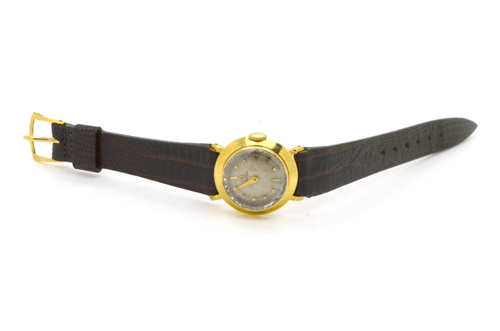 Vintage Ladies 14k Yellow Gold Omega Wrist Watch - Faceted Crystal - Brown Strap