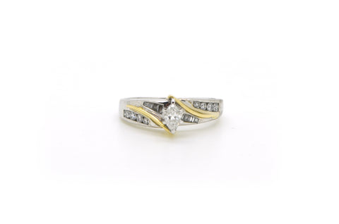 14k White & Yellow Gold Marquise Diamond Bypass Ring - .50 ct. total - Size 7