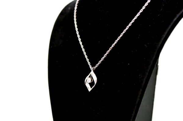 14k White Gold Diamond Matching Necklace & Dangle Earrings Set - .60 ct. total