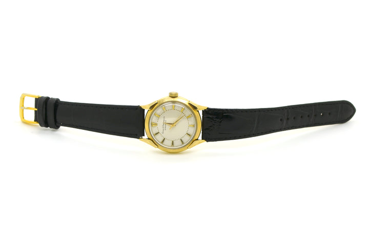 Vintage 14k Yellow Gold Girard Peregaux Gyromatic Watch - #971436 - Black Strap