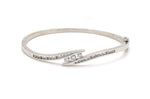 14k White Gold Diamond Bypass Style Bangle Bracelet - 7 inches - 1.00 ct. total