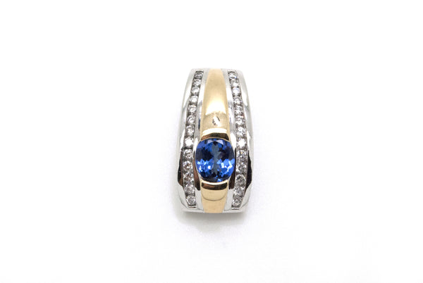 14k White & Yellow Gold Levian Tanzanite & Diamond Slide Pendant - 2.00 ct. tw