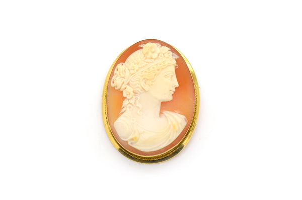 Vintage Woman Floral Cameo Pendant Brooch in 14k Yellow Gold Frame - 44 by 33 mm