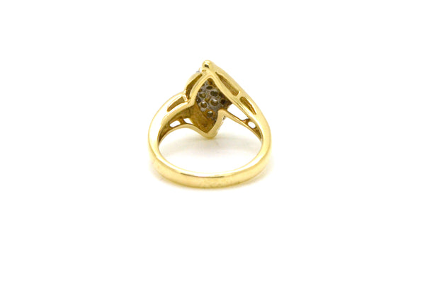 Vintage 14k Yellow Gold Diamond Cocktail Cluster Ring - .25 ct. total - Size 7
