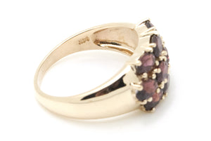 14k Yellow Gold Oval Garnet Cluster Cocktail Ring - 3.50 ct. total - Size 7.75