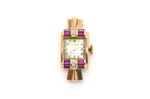 Ladies Vintage 14k Rose Gold Gruen Watch with Rubies & Diamonds - .45 ct. total
