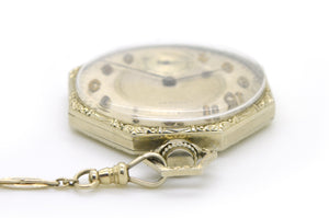 Vintage 14k White Gold E. Howard Watch Co 21 Jewel Pocket Watch with Chain 48944