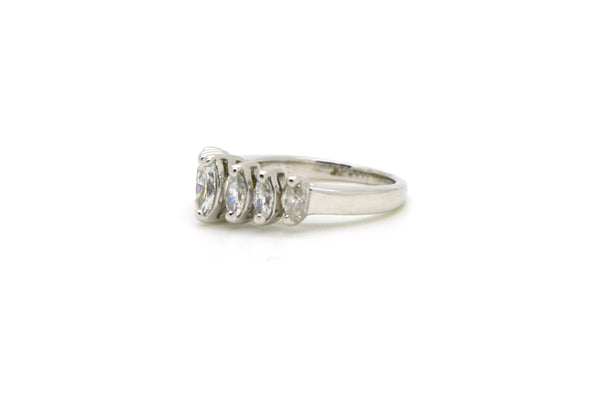14k White Gold Graduated Marquise Diamond Band Ring - 1.00 ct. total - Size 4.5