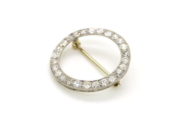 Vintage Platinum Old European Diamond Round Circle Halo Pin Brooch - 1.60 ct. tw