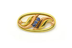 Vintage 14k Yellow Gold & Rose Gold Oval Shaped Sapphire Pin Brooch - .75 ct. tw