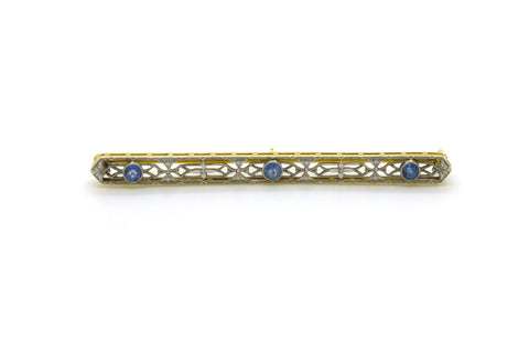 Art Deco 14k White Yellow Gold Filagree Sapphire Bar Brooch Pin - .35 ct. tw
