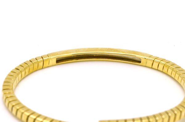 Vintage 18k Yellow Gold Diamond Flexible Cuff Bracelet - 0.25 ct. tw - 6.5 in.
