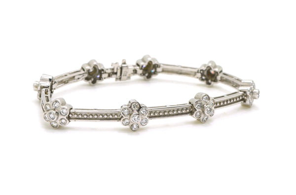 14k White Gold Diamond Cluster Flower Fine Bracelet - 3.00 ct. total - 6.75 in.