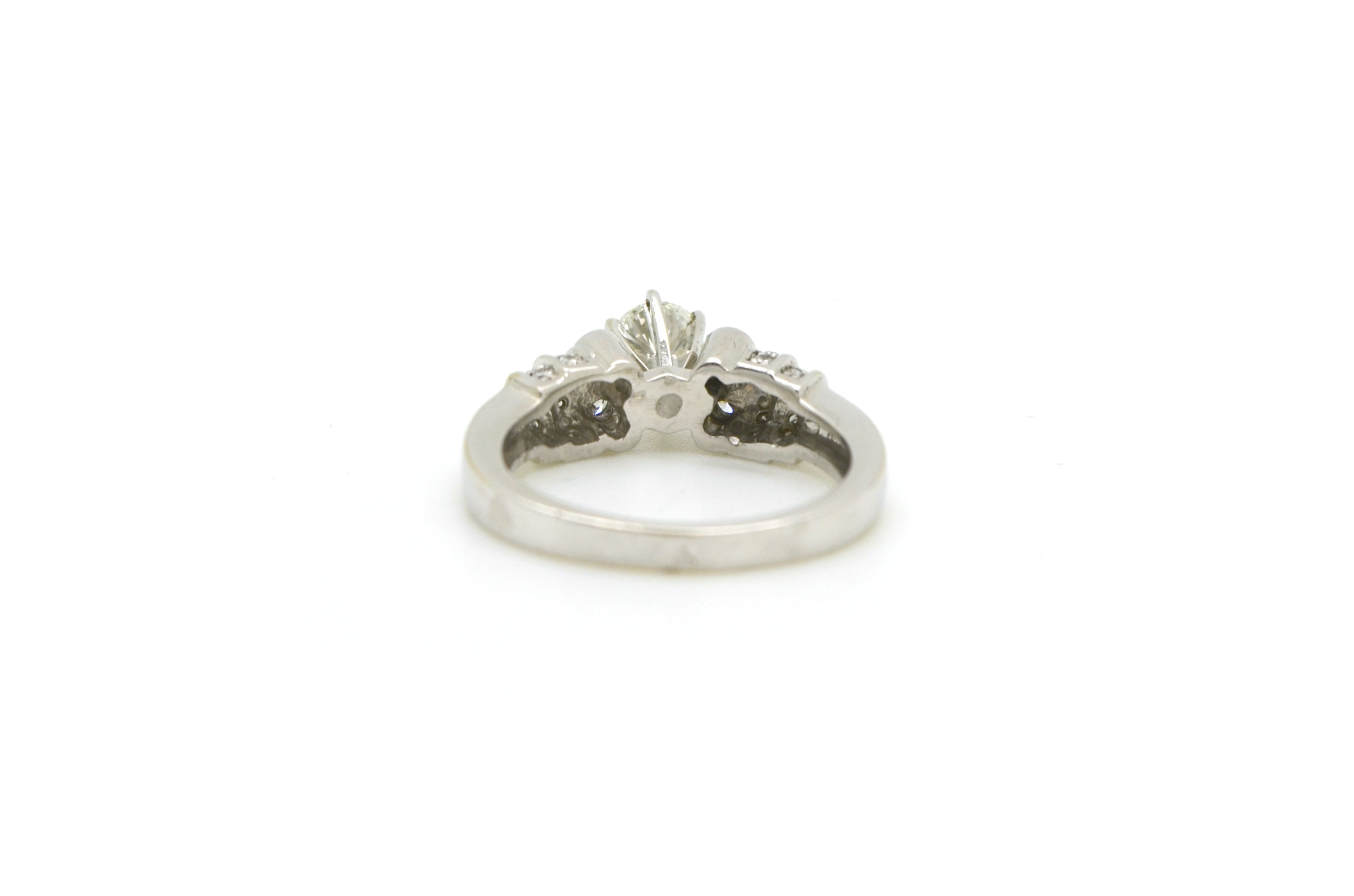 14k White Gold Round Diamond Engagement Promise Ring - .80 ct. total - Size 6.5
