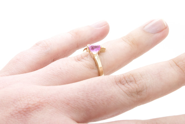14k Yellow Gold Diamond & Pink Sapphire Bypass Ring - .90 ct. total - Size 5
