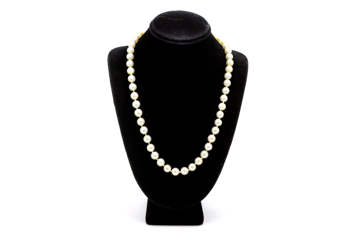 14k White Gold Round White 6-7 mm Pearl Strand Necklace with Clasp - 15.5 in.